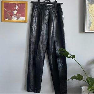 Vintage Leather High Waisted  Pants